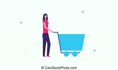 businesswoman with shopping cart and giftbox ,4k video animation