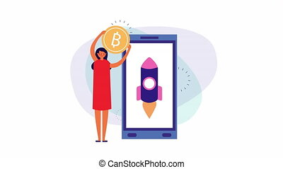 young businesswoman with smartphone and bitcoin ,4k video...
