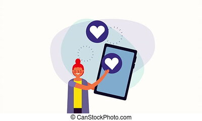 young businesswoman with smartphone and hearts love