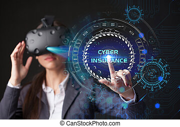 Young businesswoman working in virtual glasses, select the icon Cyber insurance on the virtual display.