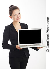 young businesswoman working on laptop computer