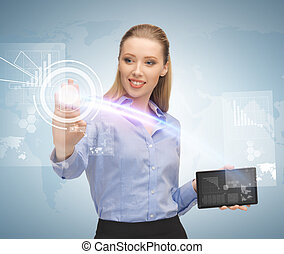 woman working with tablet pc and virtual screen