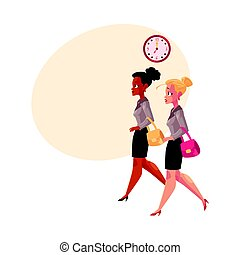 Young businesswomen, black and Caucasian, hurrying to work in morning