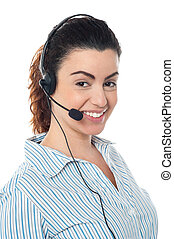 Young call center woman with headset