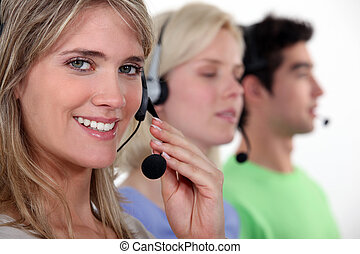 Young call-center workers