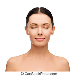 young calm woman with closed eyes - health, spa and beauty...