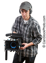 young cameraman with movie camera on the white background
