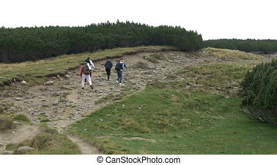Young camper tourists walking on rocky foot path hiking picturesque mountain highland with green forests