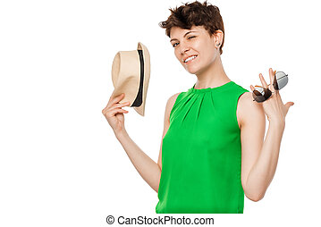 young carefree woman on a white background posing in studio