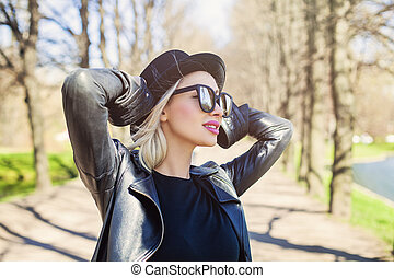Young Carefree Woman Smiling, Outdoors Fashion Portrait
