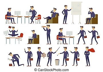 young cartoon businessman in suit vector art