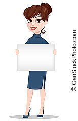 Young cartoon businesswoman. Beautiful lady holding blank placard.