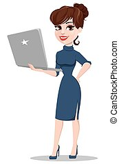 Young cartoon businesswoman. Beautiful lady holding laptop.