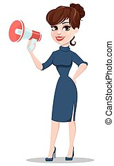 Young cartoon businesswoman. Beautiful lady holding megaphone.
