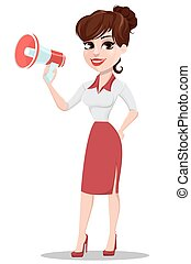 Young cartoon businesswoman in red and white clothes. Beautiful lady holding megaphone.