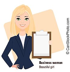Young cartoon businesswoman wearing business style clothing.