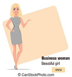 Young cartoon businesswoman wearing strict gray dress.