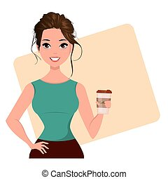 Young cartoon businesswoman with cute hairdo holding coffee.
