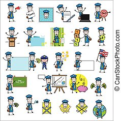 Young Cartoon Postman - Collection of Concepts Vector illustrations