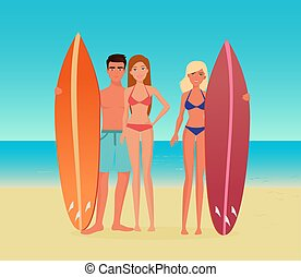 Young cartoon surf group of people. Guy man and girl woman with a surfboard on the sea ocean beach.
