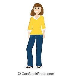 Young cartoon woman on a white background vector