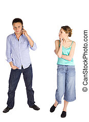 Young Casual Couple on White