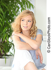 Young casual fair-haired woman