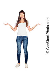 Young casual girl with the arms out extended