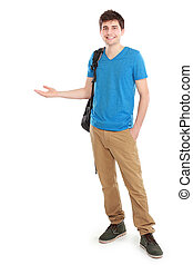 young casual male presenting something with a smile on his...