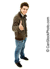 thumb up - young casual man going thumb up in a white...