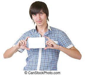 man holding white sign