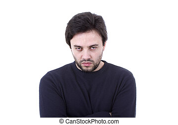 Young casual man portrait on a white background