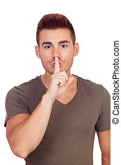 Young casual men with silence gesture isolated on a white ...