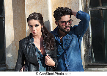 young casual woman and man