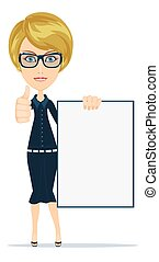 Young casual woman holding a white board