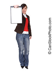 casual woman - young casual woman with banner. over white ...