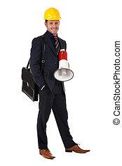 Young caucasian architect, megaphone