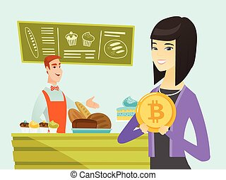 Young caucasian baker offering payment by bitcoin. -...