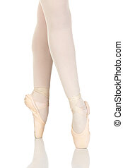 Young caucasian ballerina girl on white background and...