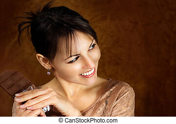 Young caucasian beautiful female with chocolate