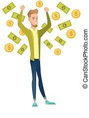 Young caucasian busiessman under money rain.