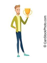 Young caucasian businessman holding a trophy. - Caucasian...