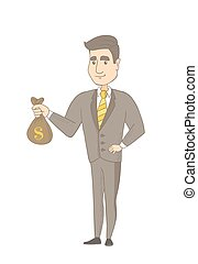 Young caucasian businessman holding a money bag.