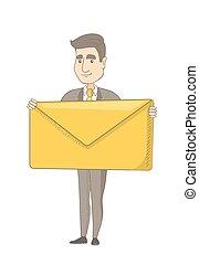 Young caucasian businessman holding big envelope. -...