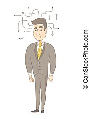 Young caucasian businessman thinking. - Caucasian...
