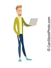 Young caucasian businessman using a laptop.