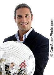 young caucasian corporate man holding disco ball
