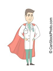 Young caucasian doctor dressed as a superhero.