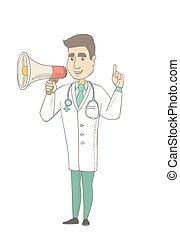 Young caucasian doctor talking into loudspeaker.