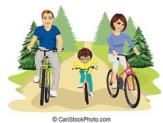 Young caucasian family, father, mother and boy child riding bicycles in summer in countryside